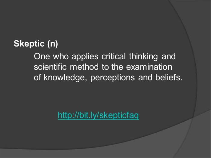One who applies critical thinking and scientific method to the examination of knowledge, perceptions and beliefs.