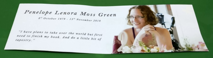 penelope funeral card